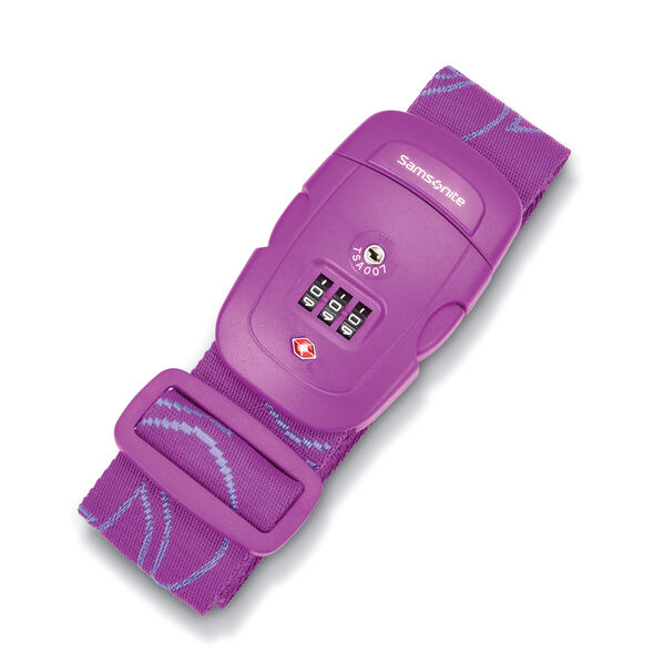 Samsonite 3 Dial Travel Sentry Combination Luggage Strap in the color Ultraviolet.