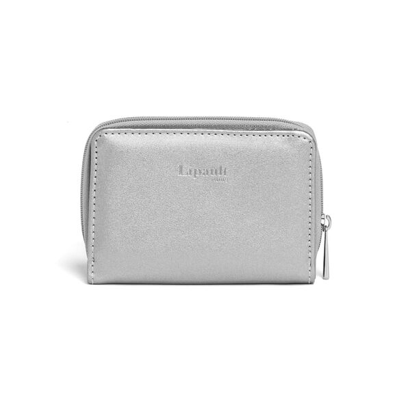 Lipault Miss Plume Compact Wallet in the color Titanium.