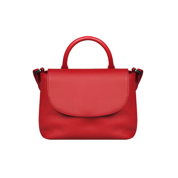 Lipault Plume Elegance Mini Handle Bag in the color Ruby Leather.