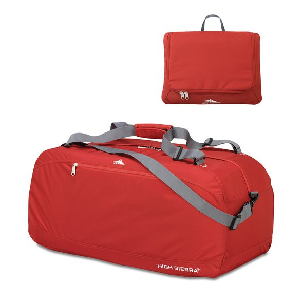 """High Sierra 30"""" Pack-N-Go Duffle in the color Carmine Red."""