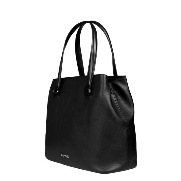 Lipault Plume Elegance Large Tote Bag in the color Black Leather.
