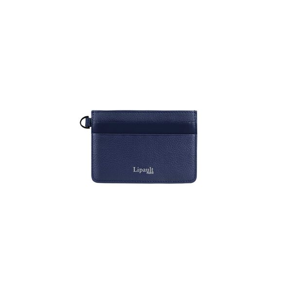 Lipault Plume Elegance Card Holder in the color Navy Leather.