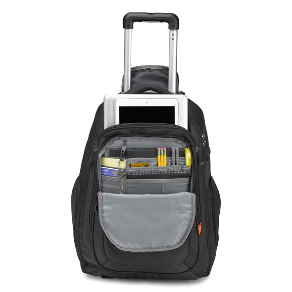 High Sierra Rev Wheeled Backpack in the color Black.
