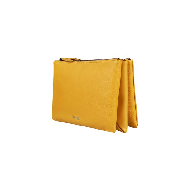 Lipault Plume Elegance Multi Pouch Bag in the color Mustard Leather.