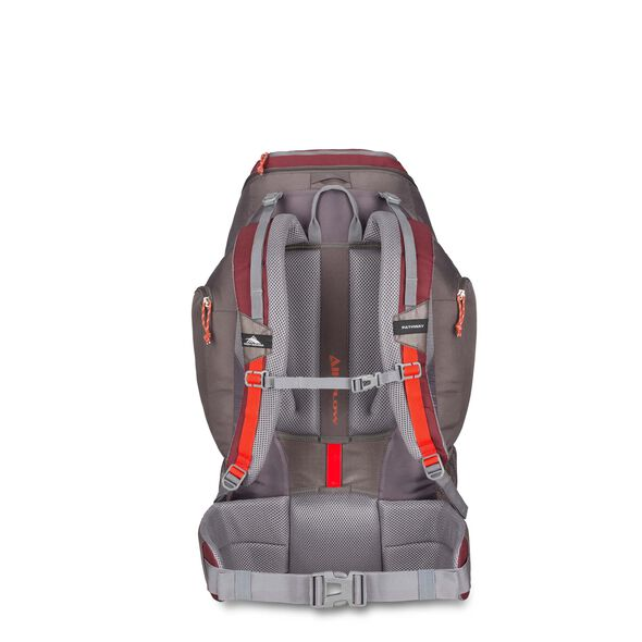 High Sierra Pathway 50L Pack in the color Cranberry/Slate/Redrock.