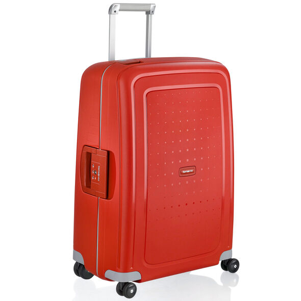 "Samsonite S'Cure 28"" Spinner in the color Crimson."