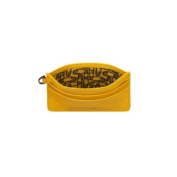 Lipault Plume Elegance Card Holder in the color Mustard Leather.