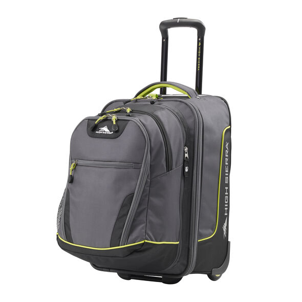 High Sierra Break-Out Carry-On Wheeled Duffle Upright w/ Removable Daypack in the color Mercury/Black/Zest.