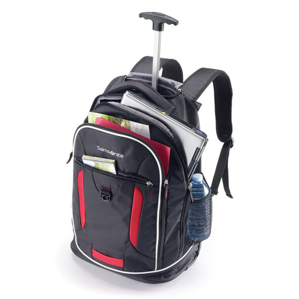Samsonite Campus Gear Wheeled Backpack in the color Black/Red.