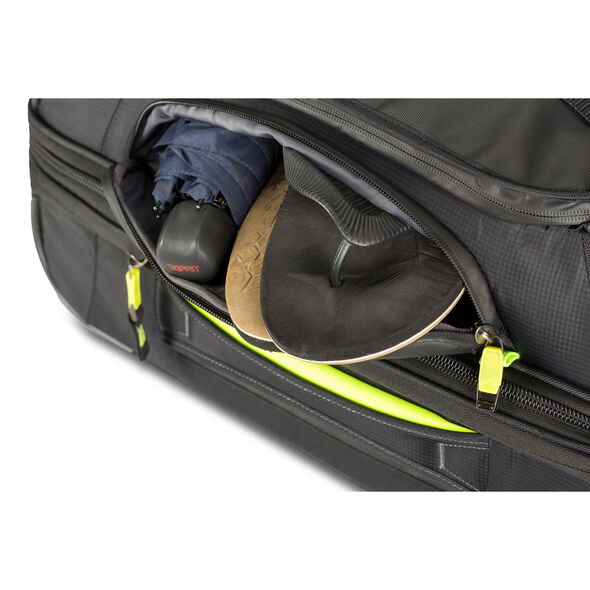 High Sierra AT8 Small Wheeled Duffle Upright in the color Black Zest.