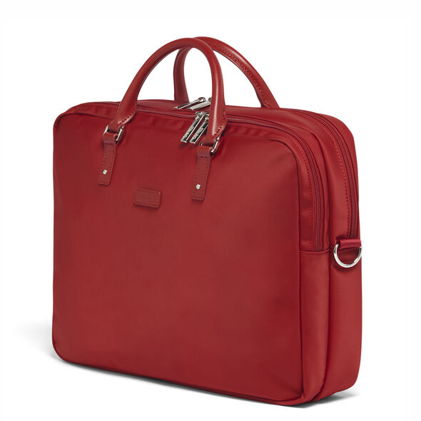 "Lipault Lady Plume FL Laptop Bailhandle (15.6"") in the color Cherry Red."