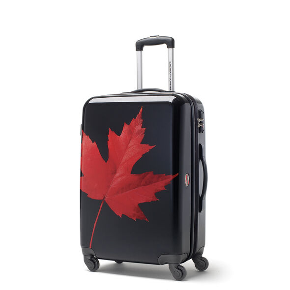 Canadian Tourister Collection Spinner Medium in the color Maple Leaf Red/Black.