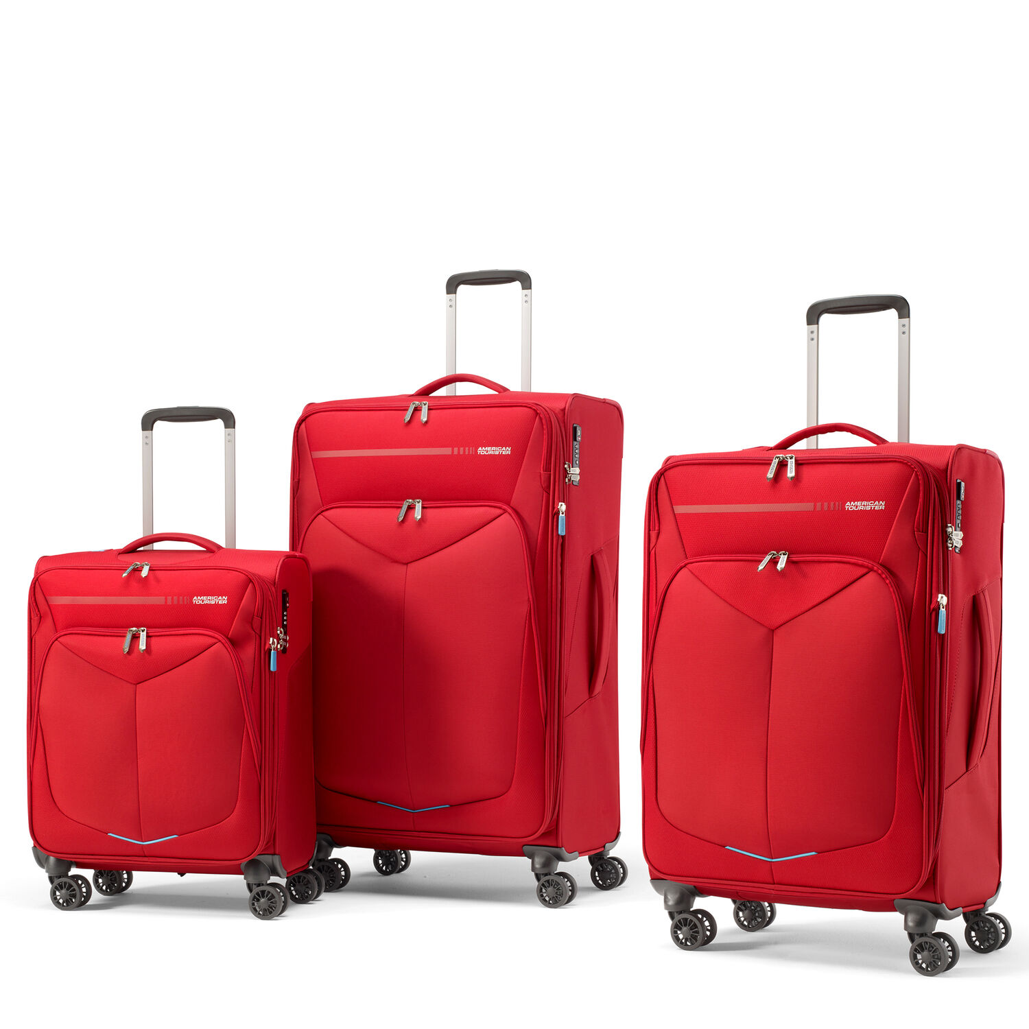 American Tourister Fly Light Spinner 3 Piece Set (CO/Med/Lrg) in the color Red.