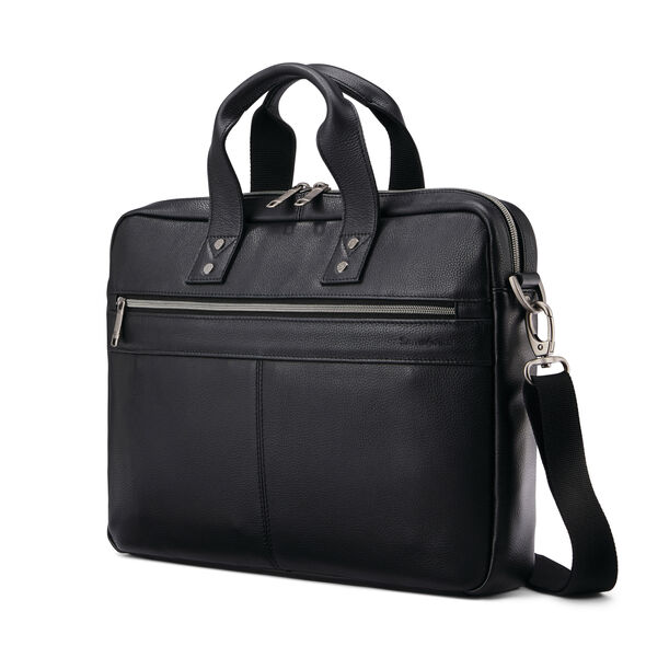 Samsonite Classic Leather Slim Brief in the color Black.