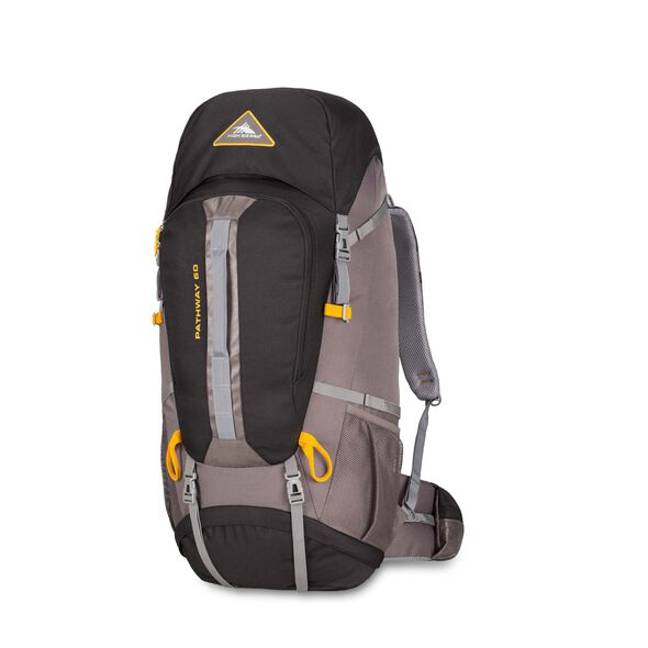 High Sierra Pathway 60L Pack in the color Black/Slate/Gold.