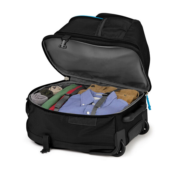 High Sierra Ultimate Access 2.0 Carry-On Wheeled Backpack with Removable Daypack in the color Black/Blueprint.