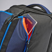 "High Sierra Dells Canyon 34"" Drop-Bottom Wheeled Duffle in the color True Navy/Black/Sports Blue."