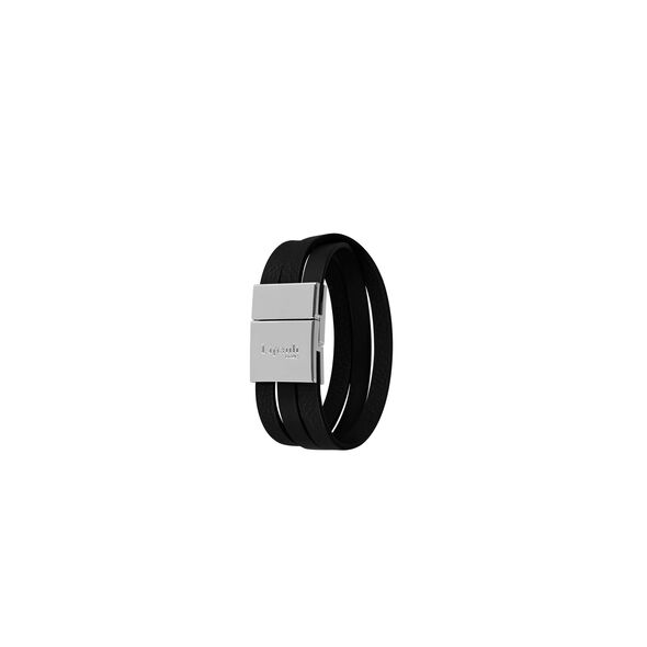 Lipault Plume Elegance Clasp Bracelet in the color Black Leather.