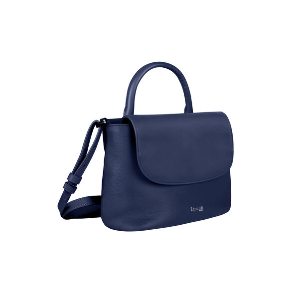 Lipault Plume Elegance Mini Handle Bag in the color Navy Leather.