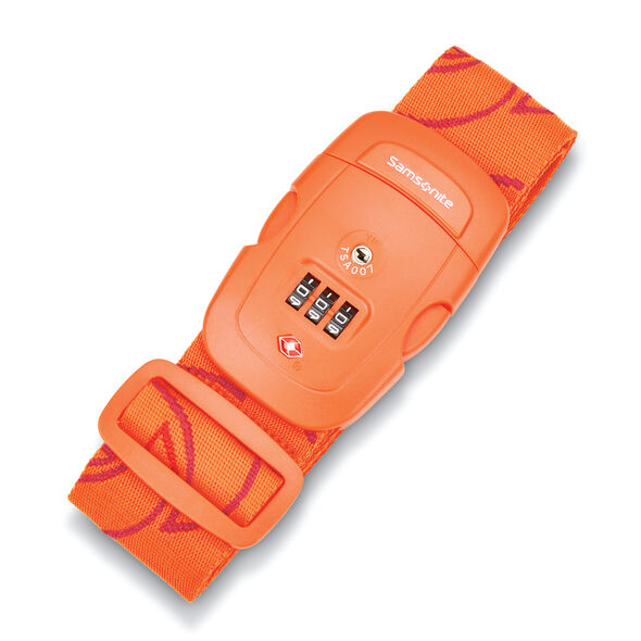 Samsonite 3 Dial Travel Sentry Combination Luggage Strap in the color Orange Tiger.