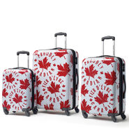 Canadian Tourister Collection 3 Piece Set in the color Proud Leaf Red/White.
