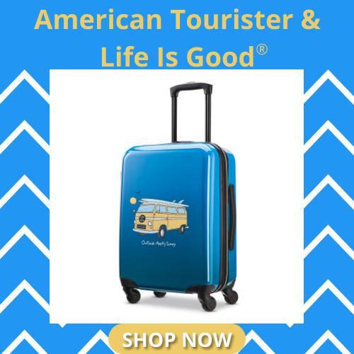 American Tourister in Partnership with Life is Good - these fun Carry-Ons are sure to please!! Shop Now!